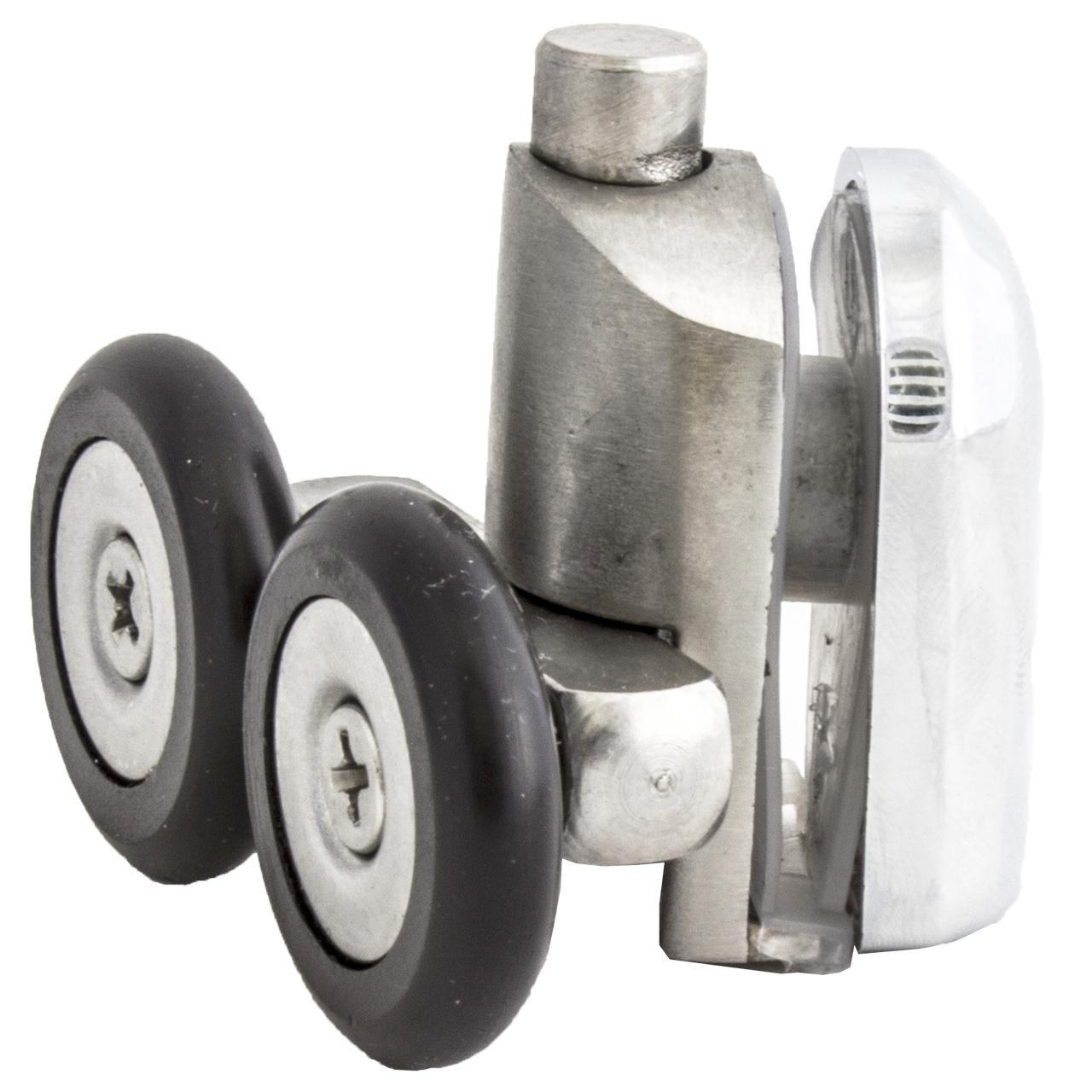 Ролик душової кабіни подвійний, нижній, натискної, металевий, нержавійка ( N-43D ) 23 мм