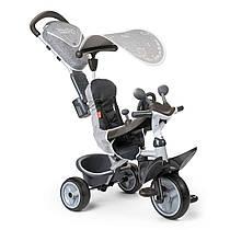 Велосипед детский Беби Драйвер Комфорт металлический с козырьком багажником серый Baby Driver Comfort Smoby