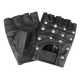 Кожаные беспалые перчатки с железными заклёпками MilTec Black 12518002, фото 2