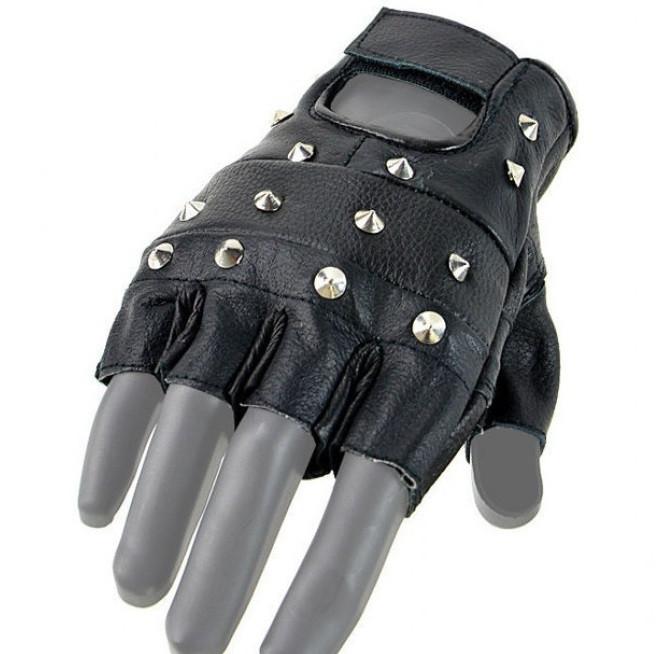 Кожаные беспалые перчатки с железными заклёпками MilTec Black 12518002