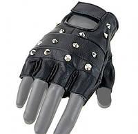 Кожаные беспалые перчатки с железными заклёпками MilTec Black 12518002, фото 1