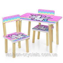 Детский стол и 2 стула единорог