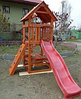 Детский игровой домик с горкой, детская площадка п12
