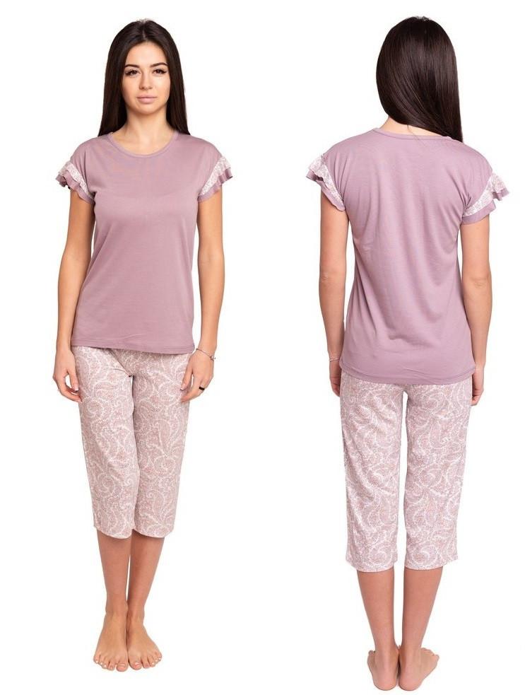 Пижама женская домашняя одежда комплект футболка с бриджами трикотажная, сиреневая