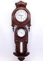 Настенные часы деревянные Виконт с барометром и термометром