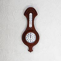 Настенные часы деревянные с термометром