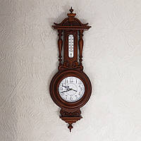 Настенные часы деревянные с термометром Классика