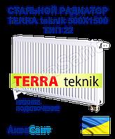 Стальной радиатор TERRA teknik 500x1500 тип 22 нижнее подключение, фото 1