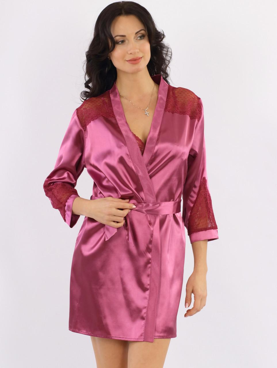 Атласный халат женский с кружевом на запах шелковый, малиновый