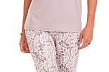 Пижама женская с брюками вискозная домашняя одежда демисезонная, бежевая, фото 4