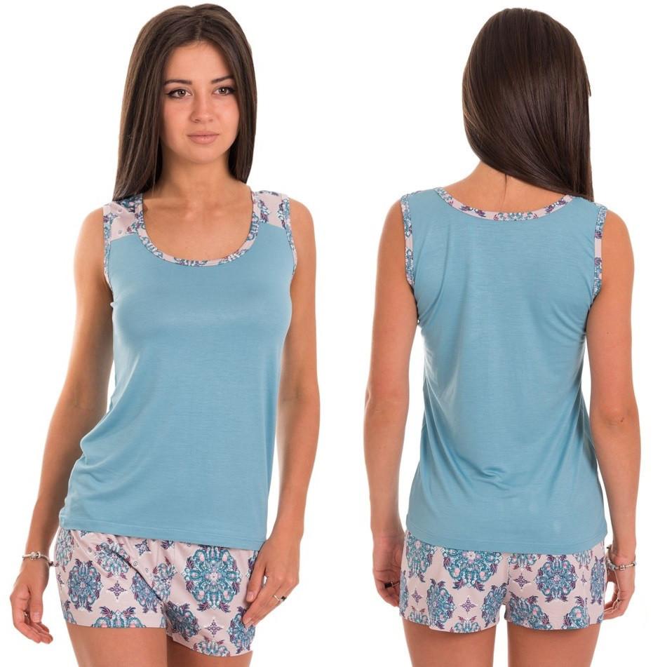 Пижама женская летняя комплект домашний майка с шортами из вискозы, голубая