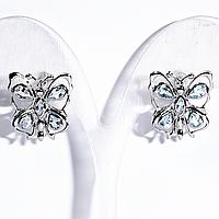 Серебряные серьги с небесно голубым топазом, фигурка бабочка, 425СРТ