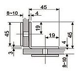 Крепление стекло-стекло 90° К902 хром 45х45, фото 4