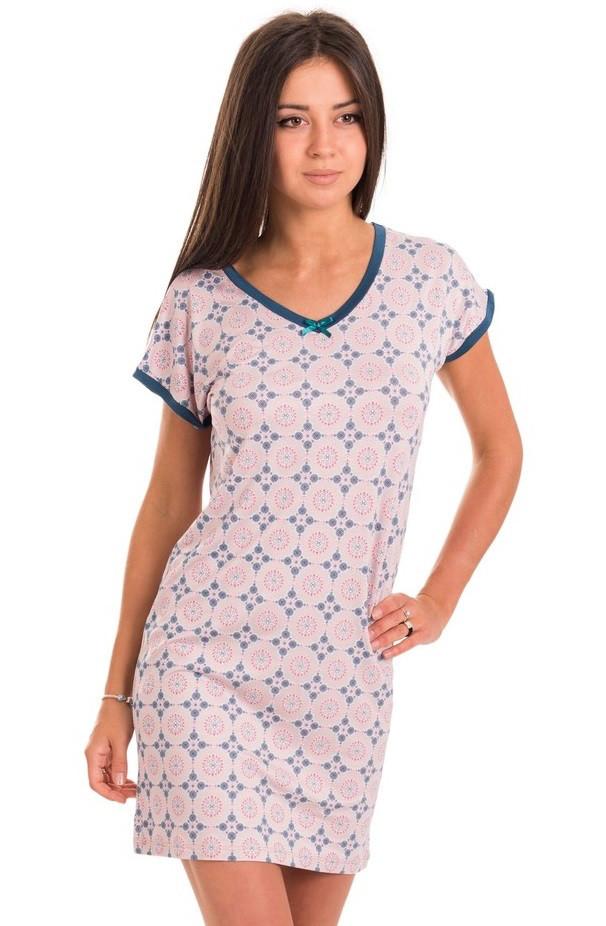 Ночная сорочка женская трикотажная вискозная домашняя, бежевая