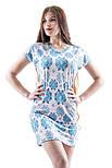 Ночная сорочка женская трикотажная вискозная домашняя, голубая, фото 2