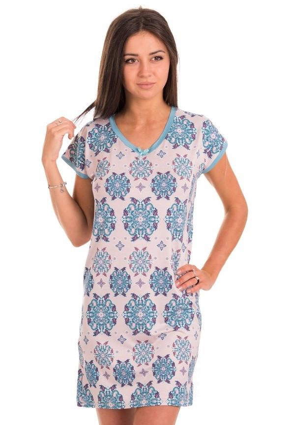 Ночная сорочка женская трикотажная вискозная домашняя, голубая