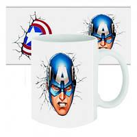 Чашка с принтом Капитан Америка