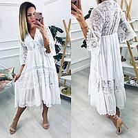 Женское длинное белое ажурное платье с кружевом ОРИГИНАЛ Польша