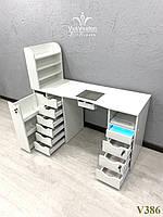 Профессиональный маникюрный стол с вытяжкой и УФ камерой. Модель V386 белый, фото 1