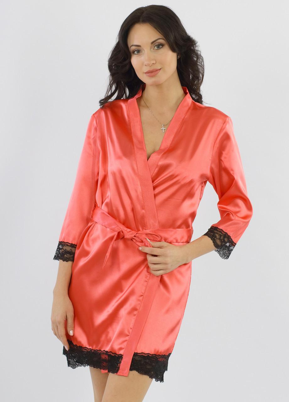Атласный халат женский с кружевом шелковый гладкий, коралловый