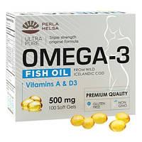 Рыбий жир из печени трески Perla Helsa, 100 капсул