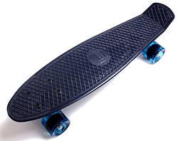 Penny Board. Темно-синий цвет. Синие колеса.