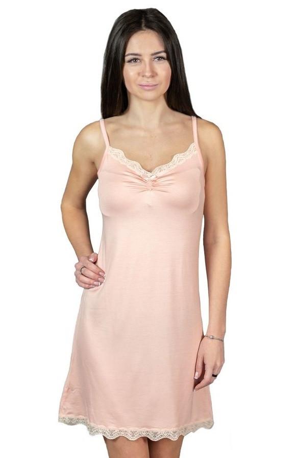 Нічна сорочка з мереживом жіночі з віскози ночнушка трикотажна, пудра