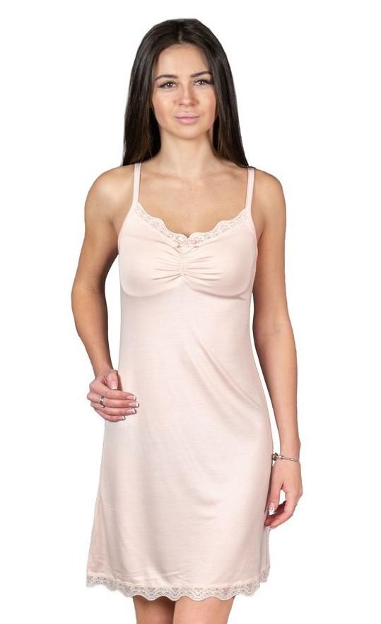 Ночная сорочка женская вискозная ночнушка с кружевом трикотажная, бежевая