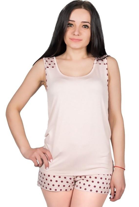 Пижама в горошек женская домашняя с шортами из вискозы летняя, бежевая