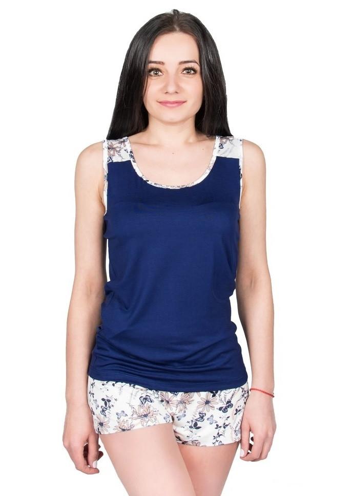 Пижама с шортами женская вискозная летняя, синяя