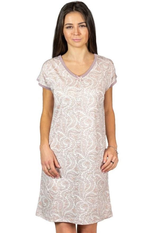 Ночная сорочка женская трикотажная вискозная домашняя, сиреневая