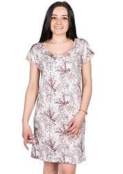 Нічна сорочка жіноча трикотажна віскозна домашня сорочка, бежева