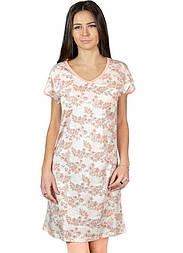 Вискозная ночная сорочка женская ночнушка трикотажная, персиковая
