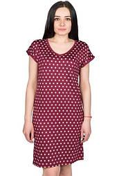 Сорочка ночная женская ночнушка трикотажная в горошек, красная