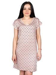 Ночная сорочка (ночнушка) женская домашняя вискозная трикотажная в горошек, бежевая