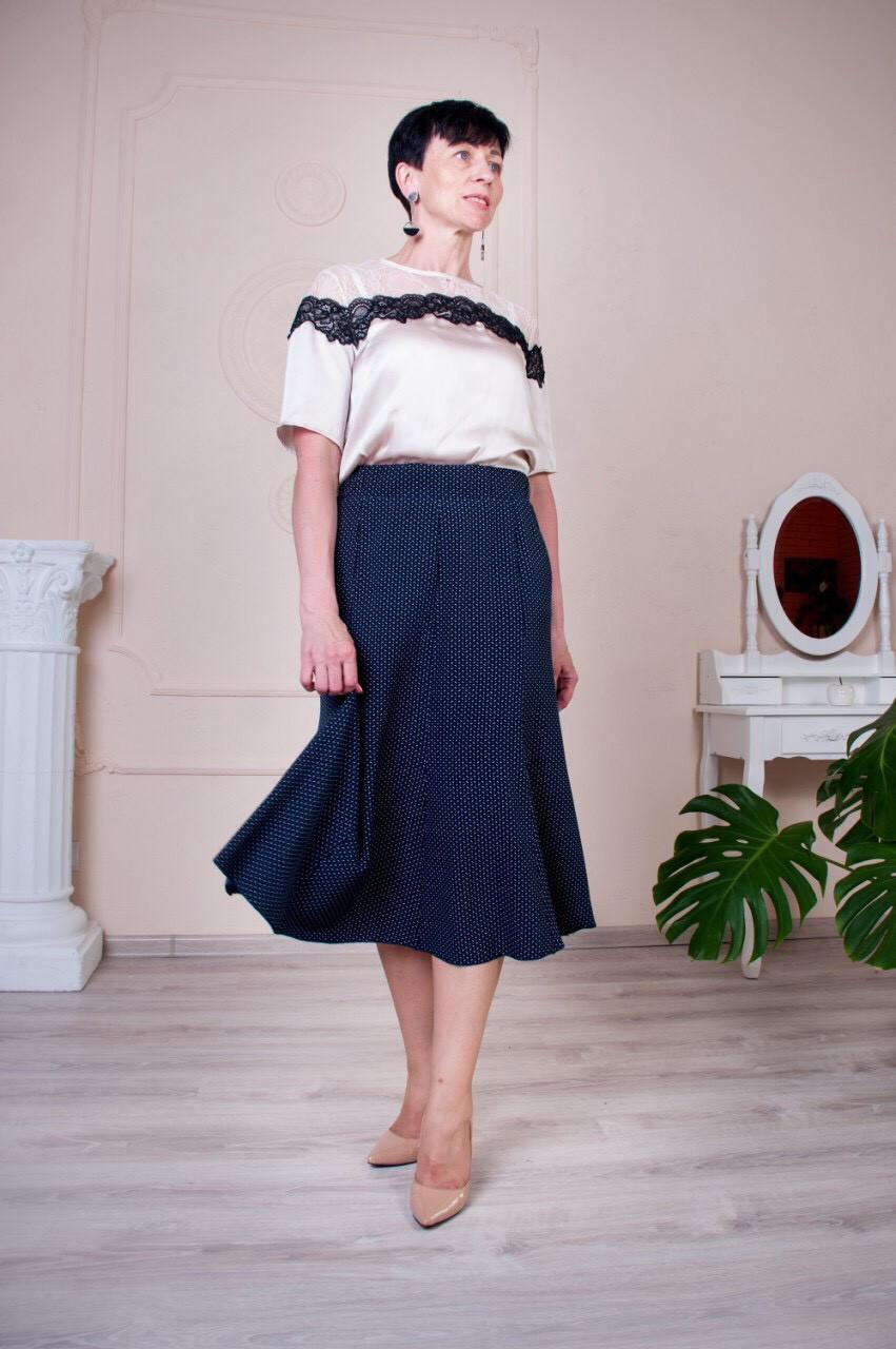 Синяя летняя женская юбка годе в горошек Тая