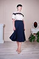 Синяя летняя женская юбка годе в горошек Тая, фото 1