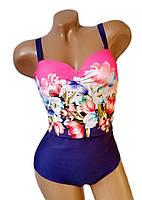 Купальник женский слитный Anita больших размеров 46 - 56 синий с розовым принтом