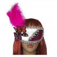 Венецианская маска Загадка белая с малиновым