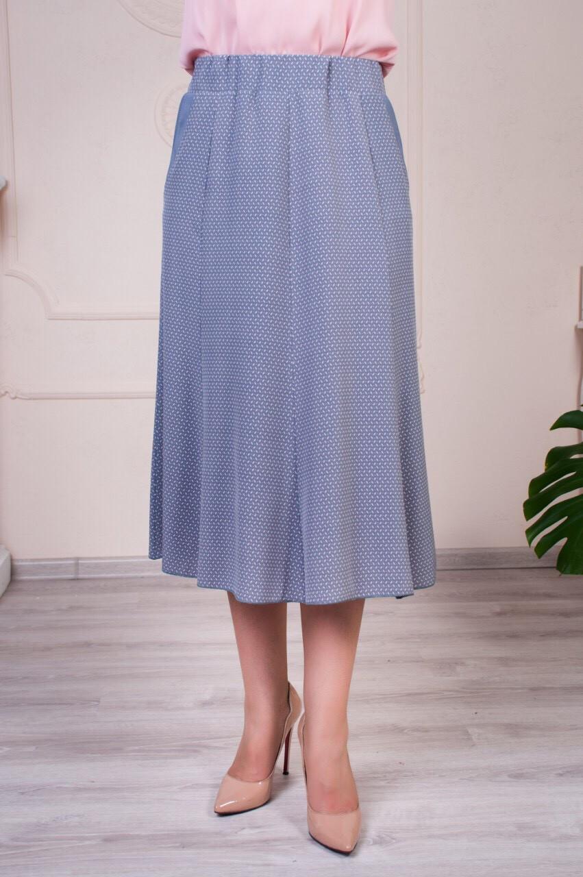 Легкая летняя женская юбка годе Тая серая