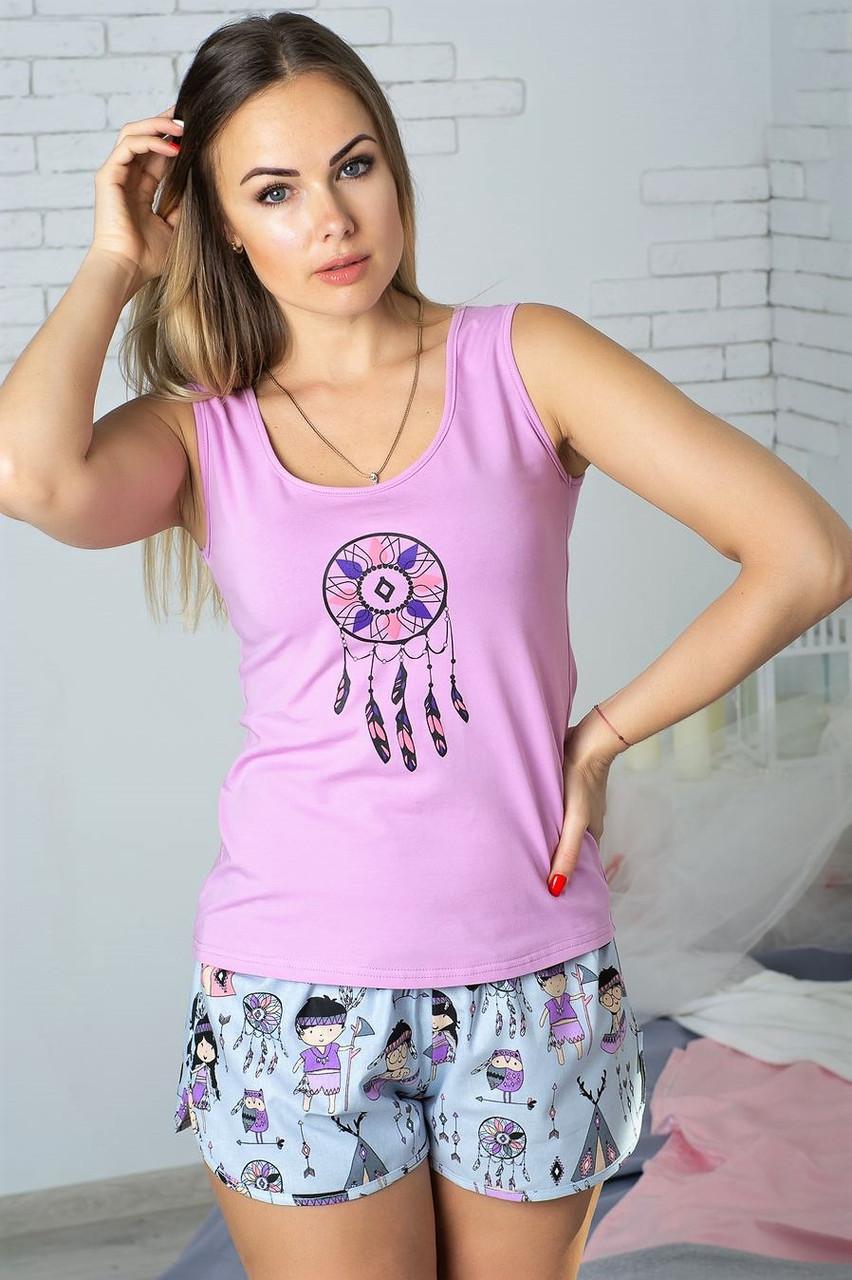Хлопковый комплект домашний с шортами женский пижама для дома