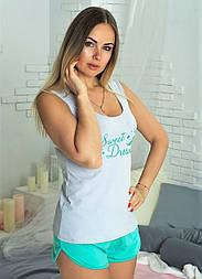 Хлопковая пижама с шортами женская домашний комплект