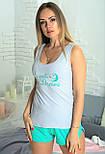 Хлопковая пижама с шортами женская домашний комплект , фото 2