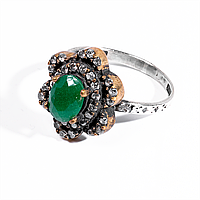 Кольцо винтажное из серебра и латуни с зеленым агатом, 8*6 мм., 1087КЦА