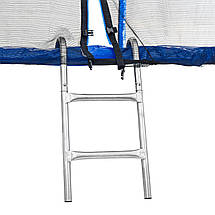 Батут Atleto 252 см с двойными ногами с сеткой синий, фото 2