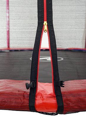 Батут Atleto 183 см с двойными ногами с сеткой красный, фото 2