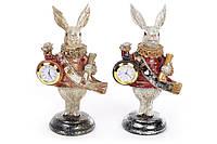 статуэтка декоративная фигура с часами Белый Кролик 21см, 2 вида