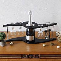 Винный набор (подставка для бутылки и бокалов) Зигзаг