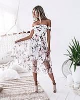 Женское фатиновое платье с цветочным принтом, фото 1