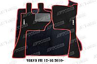 Volvo FH 12-16 2010- ворсовые коврики (серый-красный) ЛЮКС